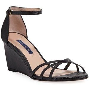 Stuart Weitzman Estarla Black Wedge Heels Sandals